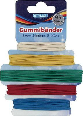 95 bunte Gummibänder Stylex  5 Größen sortiert Gummi Gummis Gummiringe