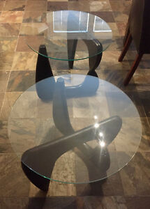 MODERN GLASS MATCHING SIDE TABLES -  MINT CONDITION