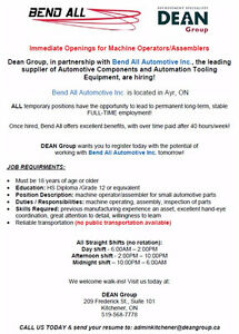 Machine Operators JOB FAIR Cambridge Kitchener Area image 1
