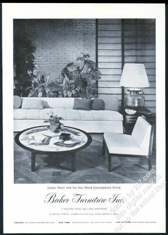 1953 Baker Furniture mid century modern sofa chair table photo vintage print ad