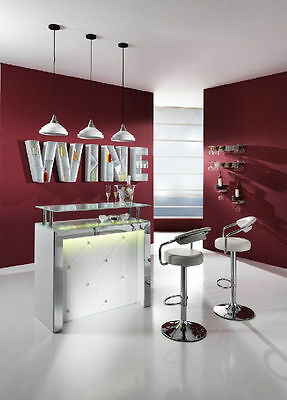 Mobile Bar KING Consolle Reception Moderno Imbottito Con Led Frontali Bianco