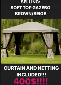 GAZEBO WITH NETTING AND CURTAINS FOR SALE - SOFT TOP