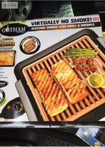 Gotham Steel smokeless grill and griddle units for sale.