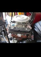 Mopar 360 engine with heads, intake, exhaust, carb,