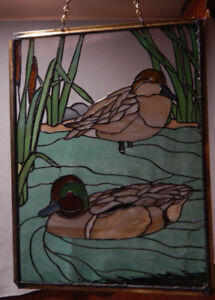 Large Stained Glass Hanging Panel -   DUCKS !