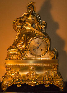 Antique French figural gilt bronze clock with Noble lady by Peti
