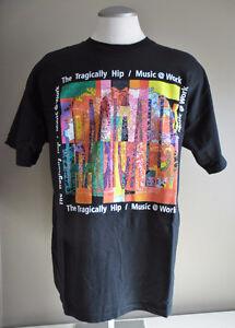 "Tragically Hip ""Music at Work"" Men's XL Black T-Shirt NEW"