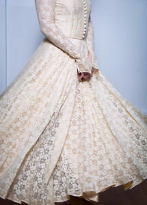 Antique 1950s Chantilly Lace and Satin Wedding Dress