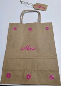 """Mum"" handmade gift bag with tag"