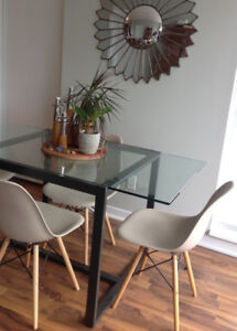4 Dining Chairs - molded plastic Eames style