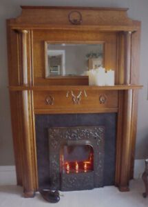 ANTIQUE TIGER OAK FIREPLACE MANTEL with CAST IRON INSERT