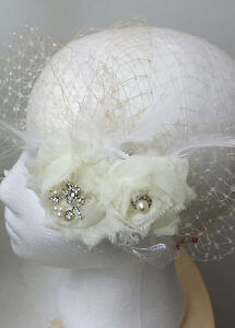 Gorgeous Crystals, Pearl, Lace, Feathers Birdcage Veil Various Designs