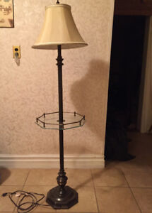 Antique Floor Lamp with Glass Table