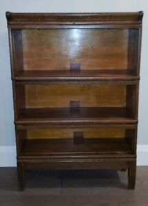 ANTIQUE OAK BOOKCASE GLOBE WERNICKE  3 HIGH SECTIONAL