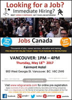 Free: Vancouver Job Fair – Thursday, May 18th, 2017