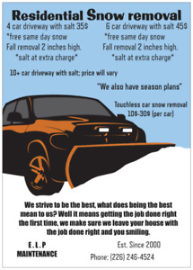 24h residential snow removal, call us today!
