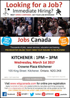 Kitchener Job Fair – Wednesday March 1st, 2017