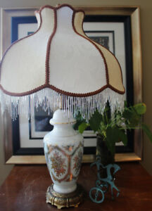 Vintage white and brass lamp