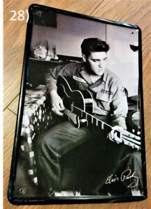 Elvis Presley Black and White Portrait Metal Plaque/Plate Sign