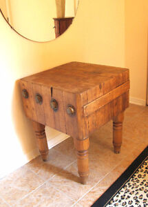 19th Century (French) Antique Butcher Block