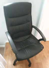 Black large Office Chair Leather Fabric Home Office Swivel Chair High