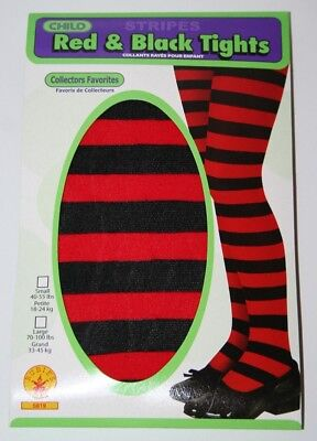 Girl/Child Tights Lot Of 6 Size Small  Black And Red Striped Costume, Dancing - Girls Black And Red Striped Tights