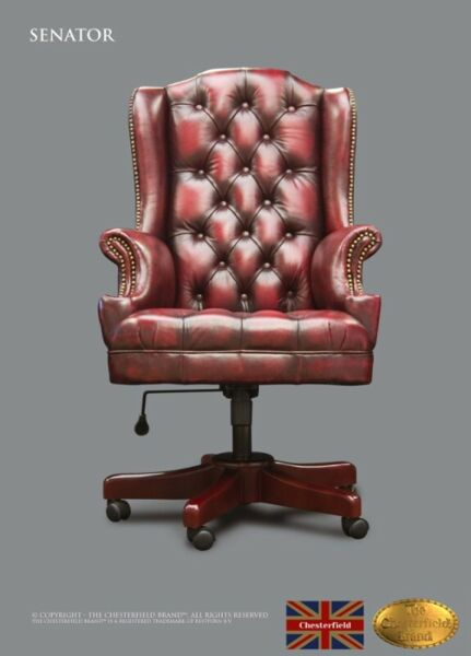 DESK CHAIR CHESTERFIELD SENATOR , LEATHER, OLD RED, THE CHESTERFIELD BRAND