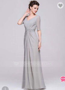 NEW Chiffon Blushing Pink Long Evening Dress with Sequins
