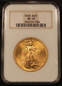 1925 USA $20 Gold NGC MS-65 Certified Gem Uncirculated Coin