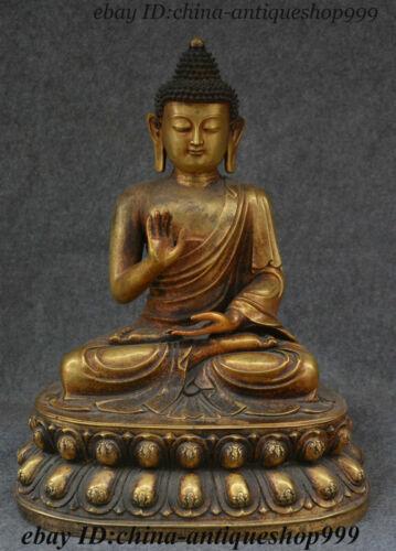 "20"" Old Tibet Purple Bronze Gold Shakyamuni Amitabha Buddha God Tathagata Statue"