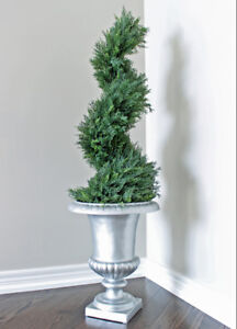 """Faux Cedar Spiral Topiary Tree with Silver Urn Planter 50"""" Tall"""