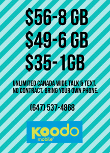 Koodo Plans. $50 Setup Fee. $25 Bill Credit