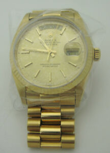 Rolex  Day-Date President Solid 18k Yellow Gold Watch 18038
