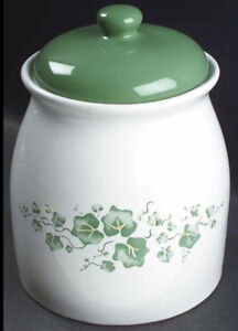 CORELLE CALLAWAY GREEN IVY COOKIE JAR CANISTER ~ 9.5