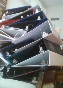 """Durable Slightly Used 3-Ring Binders from  1/2"""" to 2"""" in size"""