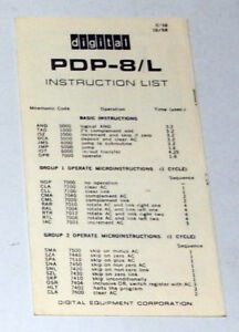 PDP-8/L Instruction List Reference Card