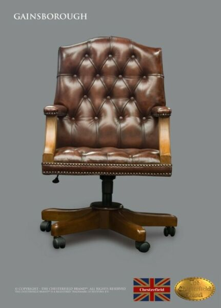 DESK CHAIR CHESTERFIELD GAINSBOROUGH , LEATHER, ANTIQUE BROWN,THE CHESTERFIELD BRAND