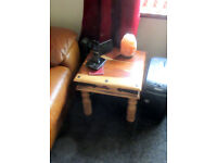 small studded teak real wood coffee table