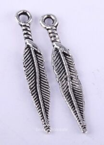 100pcs Antique Style Tibetan Silver Feather Shape Charms Pendants For Earring