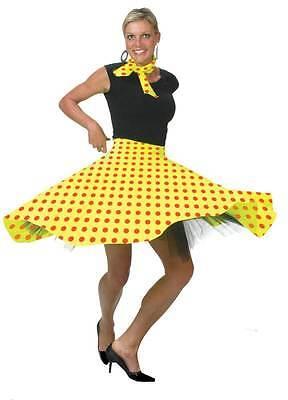 1950s Rock n Roll Gelb Rock & Schal Gepunktet Jive Bopper Kostüm (1950's Kostüm)