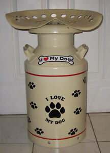 """I Love My Dog"" Themed Tractor Seat Milk Can Stool"