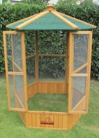 Large Wooden Hexagonal Bird Aviary Cage Birds Parrot Canary Used