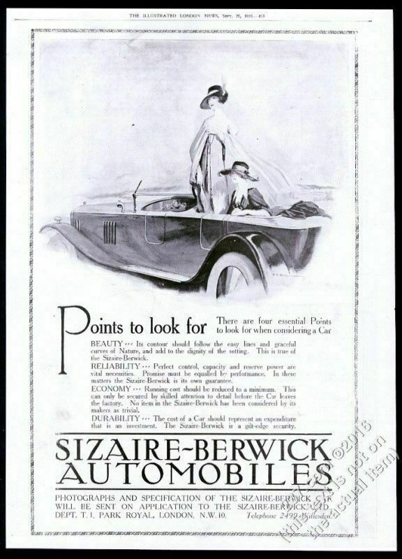 1919 Sizaire Berwick open touring car and women BIG UK vintage print ad