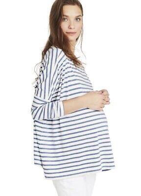 Hatch Maternity Women's THE LONGSLEEVE TEE Chambray/Ivory Size 0 (XS/0-2) NEW