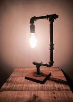 **VINTAGE** Unique Industrial Bedside Table Pipe Lamp