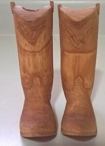 Hand Carved Wood Cowboy Boots Decor