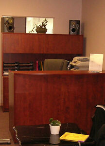 Reception Desk and Corner Workstation Cherry Combo 71""