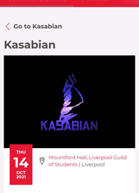 Two Kasabian Tickets - Liverpool - 14th October