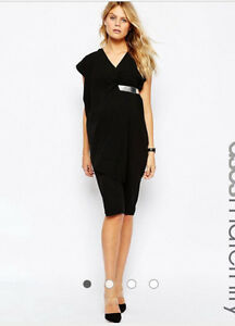 NEW Asymmetric Contemporary Black Dress with Gold Belt