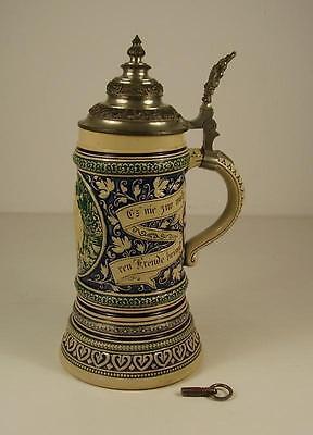 Antiker Bierkrug mit Spieluhr um 1900